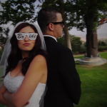Bride while filming Los Angeles Wedding Video at St. Denis Catholic Church