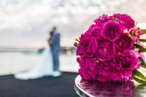 Flowers and Couple on Newport Beach Cruiseship Wedding Video
