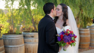 Bride and Groom from Wedding Video at Wilson Creek Winery in Temecula