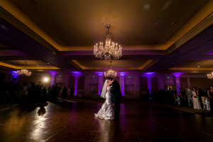 Bride and Groom dancing during Wedding Reception at the Langham Huntington Hotel in Los Angeles, CA