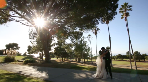 Bride and Groom First Look on Los Verdes Golf Course