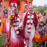 Bride and Groom walking down aisle after Indian Wedding Ceremony