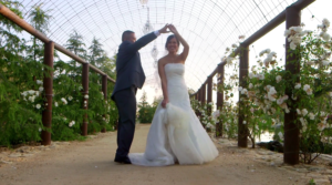 Bride and Groom dancing at Serendipty Garden Weddings in Yucaipa