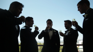 Groom and Groomsmen toast before Wedding Ceremony at Mr C Beverly Hills Hotel