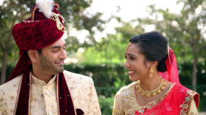 Bride and Groom walking during Romantic Photoshoot in their Indian Wedding Video Highlight at Disneyland in Orange County California