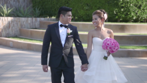 Bride and Groom walking during Romantic Photoshoot in Long Beach Wedding Video