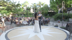 Bride and Groom dancing during Wedding Reception at Los Angeles River Center and Garden